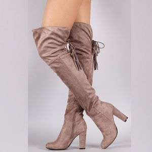 Bamboo Over-The-Knee Suede Boots